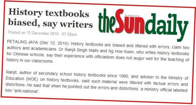 Pakar bidang mengesahkan buku teks Sejarah dipenuhi kesalahan fakta.